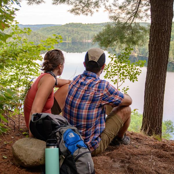 Couple hiking in Muskoka
